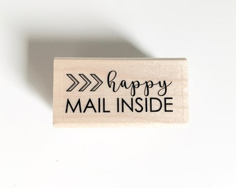 rubber stamp: shipping stamp, mailing stamp, happy mail inside