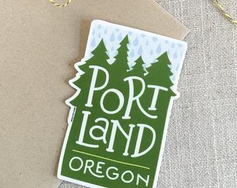 Portland Oregon Rain Vinyl Sticker / Modern Illustrated Portland Sticker / Pacific Northwest Sticker / Hand Lettering / Cool Sticker