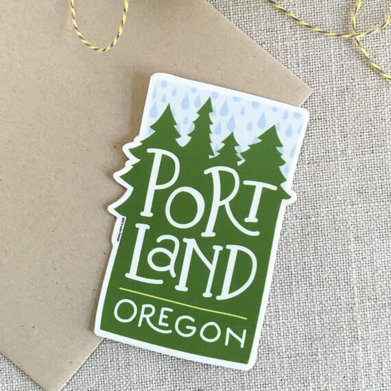 Portland Oregon Rain Vinyl Sticker Modern Illustrated