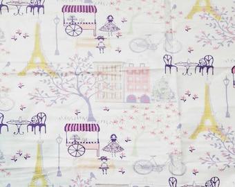 Quilting Fabrics,wide screen print,cotton,pure,soft,bike,Paris,Eiffel tower,pastels,spring,summer,romantic print fabric,soft,cotton,white