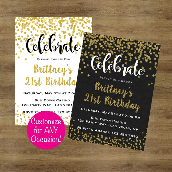 Adult Birthday Invitations Adult Party Invitations Gold