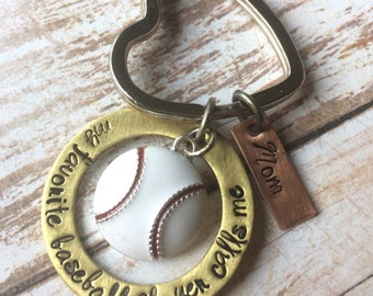 My Favorite Baseball Player - TBall - Calls Me Mom - Mom Keyring - Baseball Mom Gift - Sports Keychain - Hand Stamped - Baseball Charm