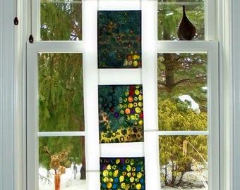 Abstract Sunrise  ~ Bleached Art Stained Glass-Look Pojagi Batik Window Treatment  / bohemian / fiber art / boudoir curtain