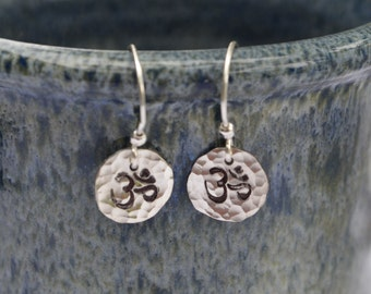 Om Sterling Silver Earrings Reclaimed Sterling Silver Hand Stamped and Hammered Handmade French Wires