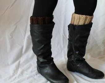 SALE: Hand Knit Boot Cuffs, Two in One Boot Cuffs, Boot Toppers. Leg Warmers- Brown and Tan