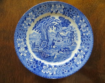 Vintage 40s - Blue Willow Scenic Dinner Plate - Made in Japan