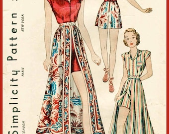 1930s 30s vintage sewing pattern playsuit skirt beach romper bust 34 b34 repro