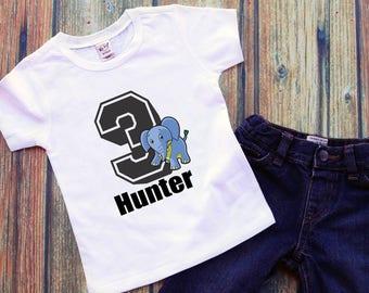 Personalized Elephant Birthday Shirt Zoo Birthday Shirt