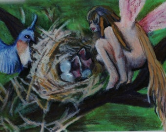 original art aceo fairy and robin with baby birds