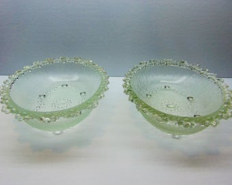 Vintage  Glass Oval Bowls, Japanese Aderia, Bubble Lace Edged  Bowls, Set of 2
