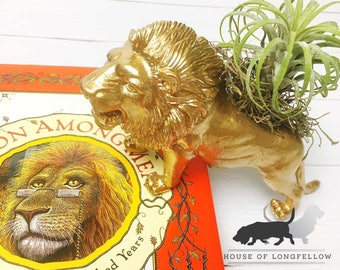 Gold Lion Planter + Air Plant | Upcycled Planter | Home Decor | Office  Planter |