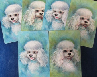POODLE CARDS (6) Vintage Playing Cards Collectible Swap Cards Kids Arts & Crafts Projects Scrapbooking Mixed Media Free Shipping