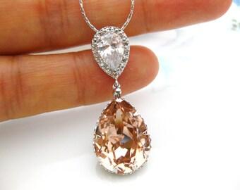 Swarovski Vintage Rose Necklace Soft Pink Crystal Necklace Cubic Zirconia Teardrop Necklace Wedding Necklace Necklace Bridesmaid Gift (N034)