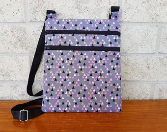 Pink Black and Gold Triangles Design  - Zip and Go Bag