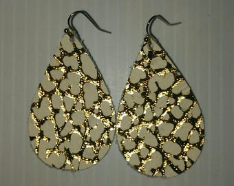New Leather!!Gold and White Hand Cut Leather Earrings. Leather Tear Drop Earrings.