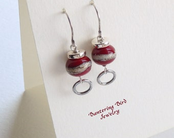 Modern Red Earrings, Lampwork Glass Bead with Handcrafted Fine Silver, Sterling Silver Earrings, Mother's Day Gift