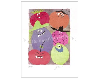 """9"""" x 12"""" Retro Funny Face Drink Characters Collage Giclée print"""