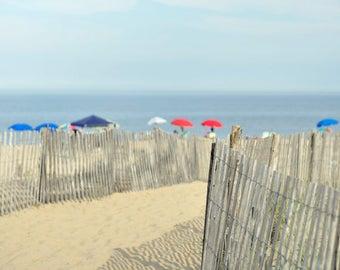 Shabby chic beach decor, beach path photography print, large coastal wall art beach fence umbrellas, bathroom wall decor, aqua grey blue red