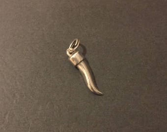 Vintage Sterling Silver Cornicello Horn Charm