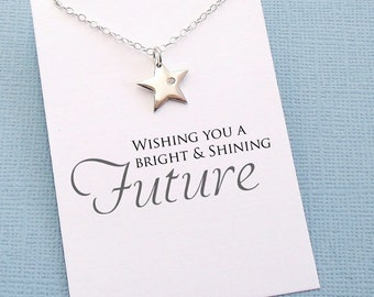 Graduation Gift | Inspirational Star Necklace, Diamond Necklace, Class of 2018 Gift for Her, College Student Gift, Nurse Gift, Friends |G6
