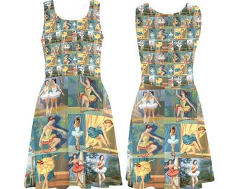 Vintage Paint by Number Dancers Skater Dress - printed flared tank dress - women's ballerinas dress - USA XS-3XL
