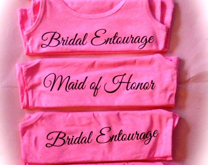 5 Bridal Entourage print Tank Tops // wedding party print shirts // bridesmaid gifts // black and pink bachelorette party // bride shirt