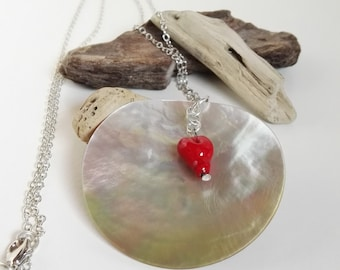 Natural mother of pearl pendant with red heart hand-crafted by lumen