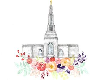 LDS Temple Watercolor (Redlands), Redlands California Temple