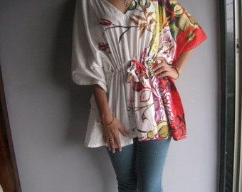 Cream Red Kaftan Top - Perfect for outings to be worn over jeans or leggings, lounges, beaches, spa robes, to be mums, best gift for her