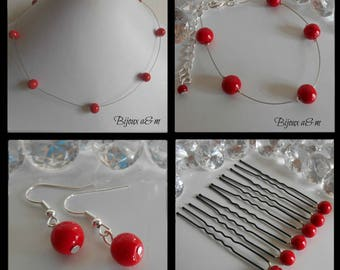 Set of 4 wedding pieces simplicity red passion pearls