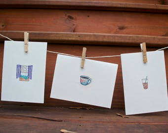 Café Trio // Handmade Blank Cards // Watercolor