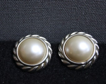 Vintage Clip-On Silvertone Faux Pearl Earrings, Mid Century Faux Pearl Earrings in Silver Tone Setting