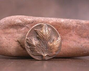 Shank Button, Goldie Bronze Metal Clay, Maple Leaf Button, Rustic Button, Divine Spark Designs, SRA