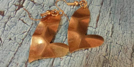 Wonky Heart Copper Earrings
