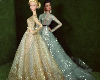Golden Dress for fashion royalty , Poppy Parker, Silkstone Barbie, fr2 , 12'' Fashion Doll