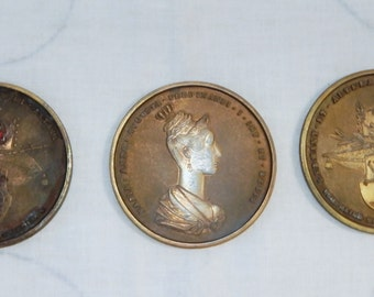 Set Of 3 vintage 60s Reproduction of 1836 Maria Anna Avgvsta FERDINANDI I Imp Et REGIS Set of 3