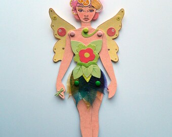 Flower Fairy Paper Doll/ Fairy Paper Doll/ Jointed Fairy Paper Doll/  Articulated Paper Doll/ Forest Fairy Paper Doll/  Fairy Wall Decor