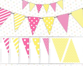 Pink and yellow banner (INSTANT DOWNLOAD) - Polka dot banner - Pink lemonade banner - Printable banner - Lemonade party BI003