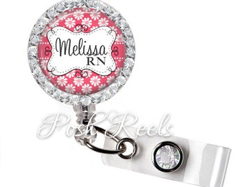 Badge Holder ID -  Pink Daisy Badge Reel - Floral Name Badge Holder - Rhinestone Badge Reel - 0990