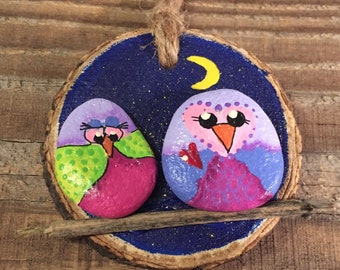OWL Painted stone - painted rock - OWL ornament - wood slice funny night moon  birds on a stick-nighttime