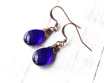 Blue Teardrop Earrings, Cobalt Blue Earrings, Teardrop Earrings, Czech Glass Beads, Copper Earrings, Blue and Copper Earrings, Boho Style