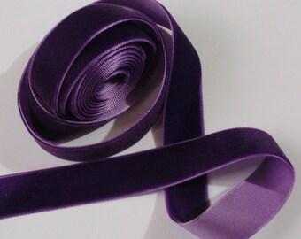 5 yards 3/4 inches Velvet Ribbon in  purple RY34-089