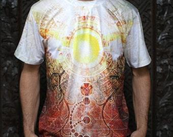 SOLSTICE RISING  Men's cotton T-shirt // Festival Shirt // Solstice Shirt //  Sun shirt // Earthy shirt / psychedelic tee, trance psy trippy