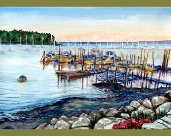 """Landscape Painting , Habour Landscape, 20""""x30"""""""