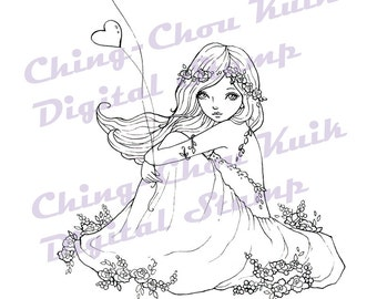 Love is in the air - Instant Download digital stamp / Wind Heart Balloon Flower Fantasy Line Art Fairy Girl by Ching-Chou Kuik