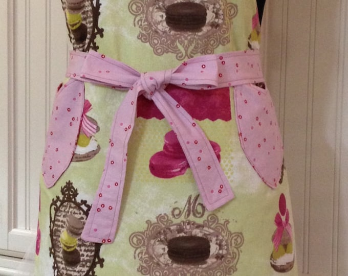 Womens full apron Chef style full Apron Lime Green Macaroons Reversible to Pink Red Dots pink cotton ruffled bodice pockets full apron
