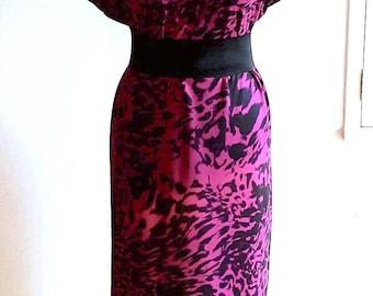 Bespoke Animal Fur Leopard Print Pink Black Retro Tunic Dress - Custom printed fabric!