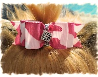 Pink Camouflage Dog Bow, Girl Dog Bow, Camouflage Pet Hair Bow, Camo Pet Bow, Camo Dog Hair Bow, Pink Show Dog Bow, Topknot Dog Bow