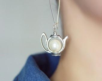 Teapot Earrings Tea Earrings White Pearl Earrings Tea Pot Earrings Pearl Teapot Earrings Long Pearl Earring Tea Party Gift for Tea Lovers