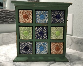 Apothecary Cabinet 9 Ceramic Drawers Earring or Jewelry Box Shabby Chic Chest of Drawers, Holds Spices or Loose Tea Item #606252789